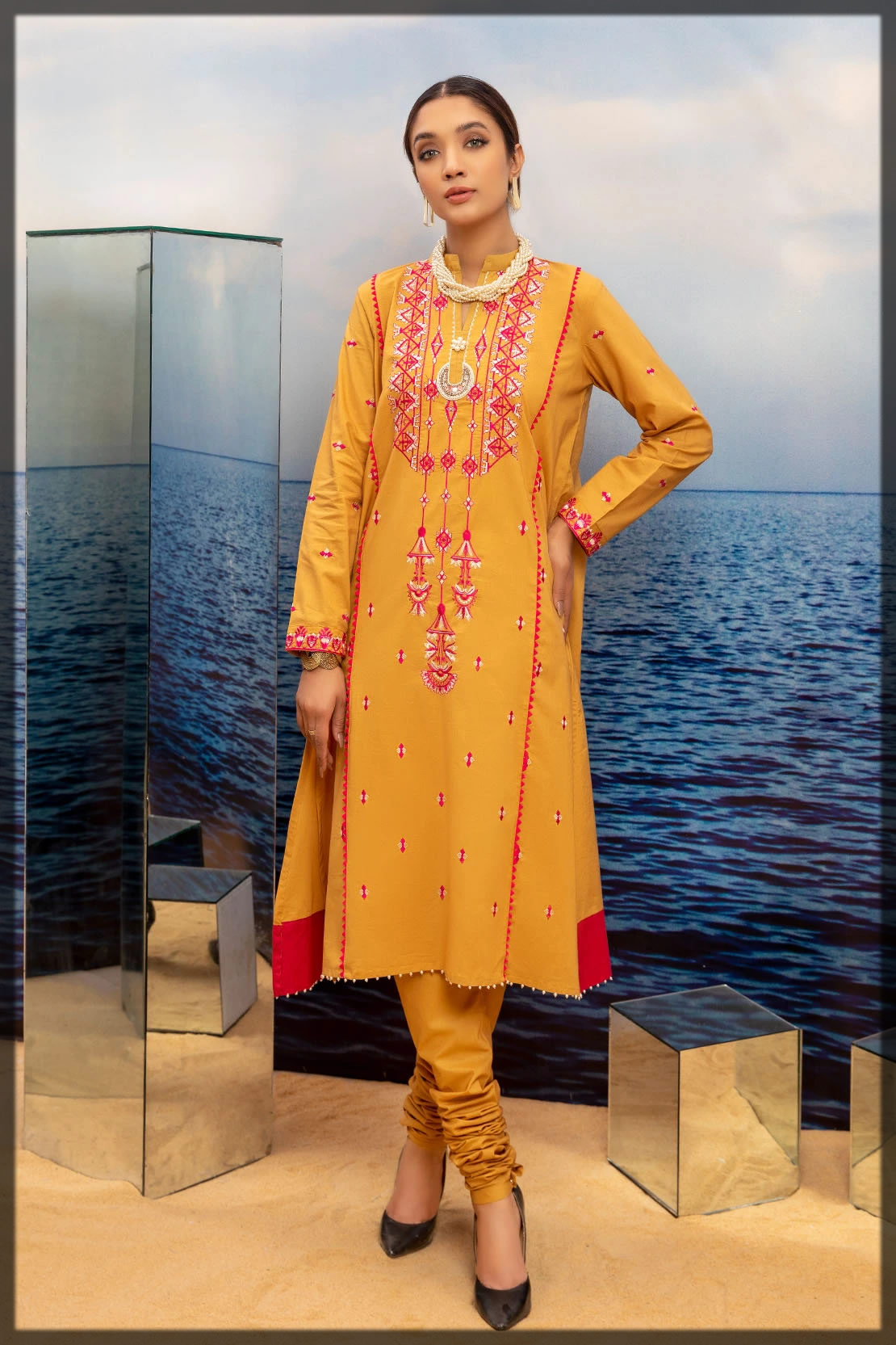 yellow solid embroidered lawn shirts