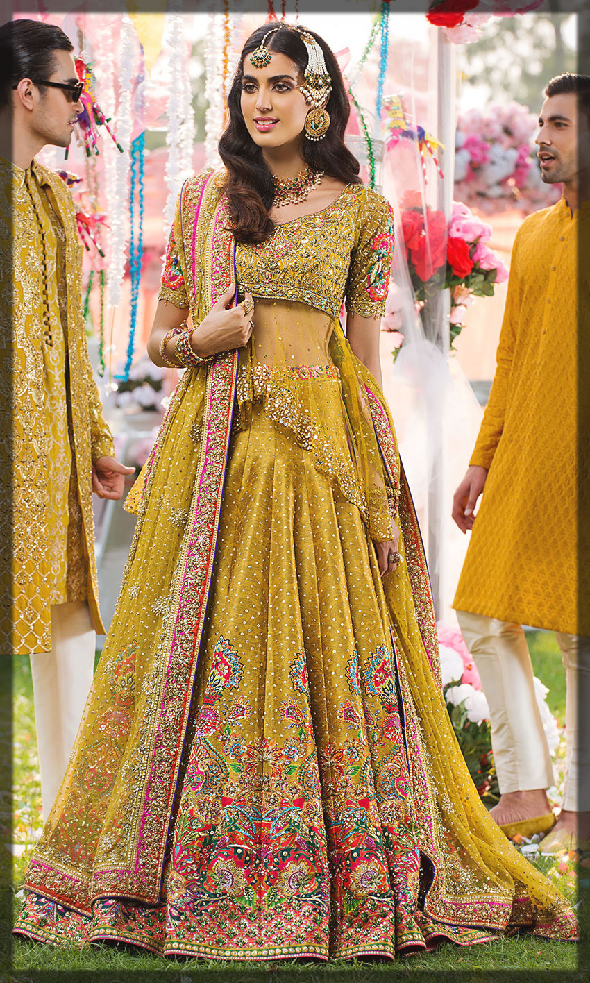 yellow stylish dress for the mehdni event