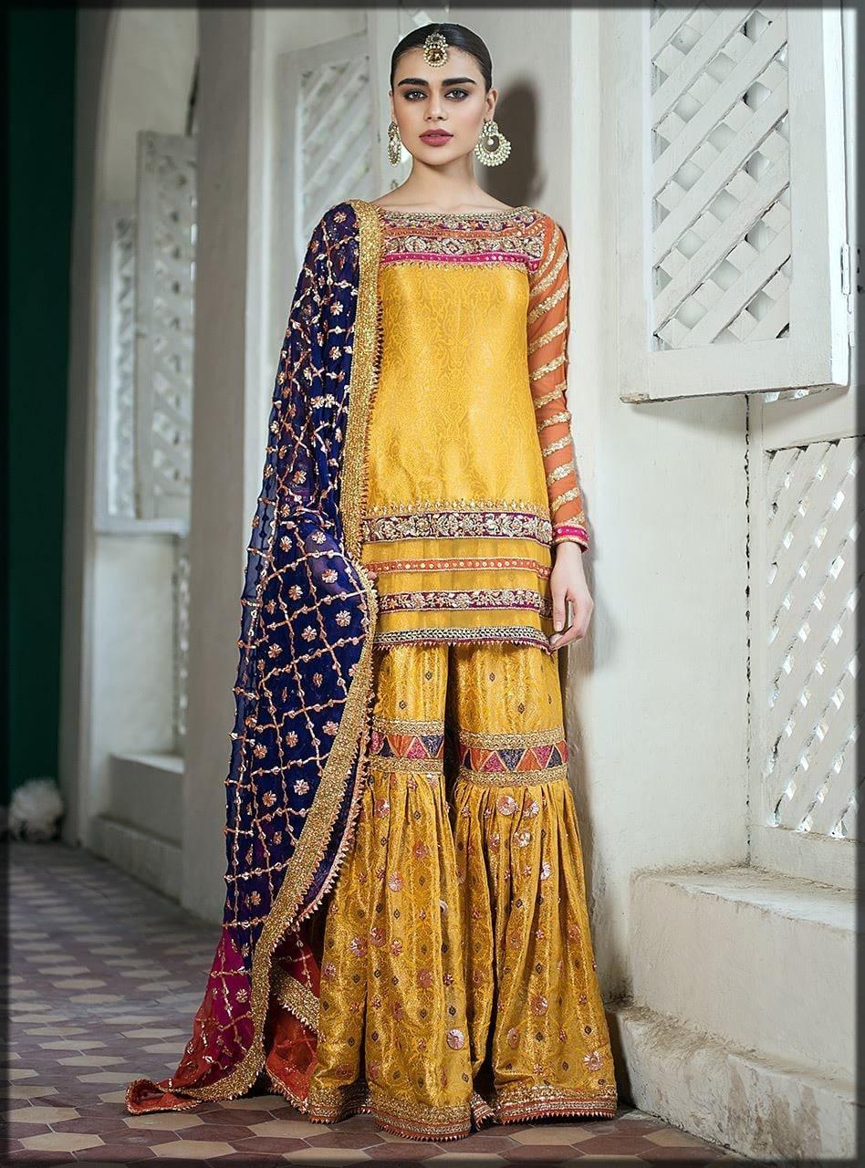 yellow stylish gharara for brides