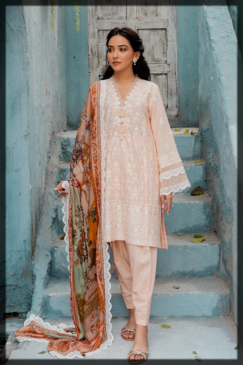 3pc summer lawn dress in peach hues