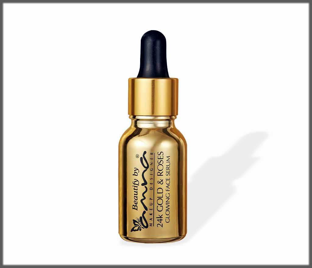 Applying serum for skin care