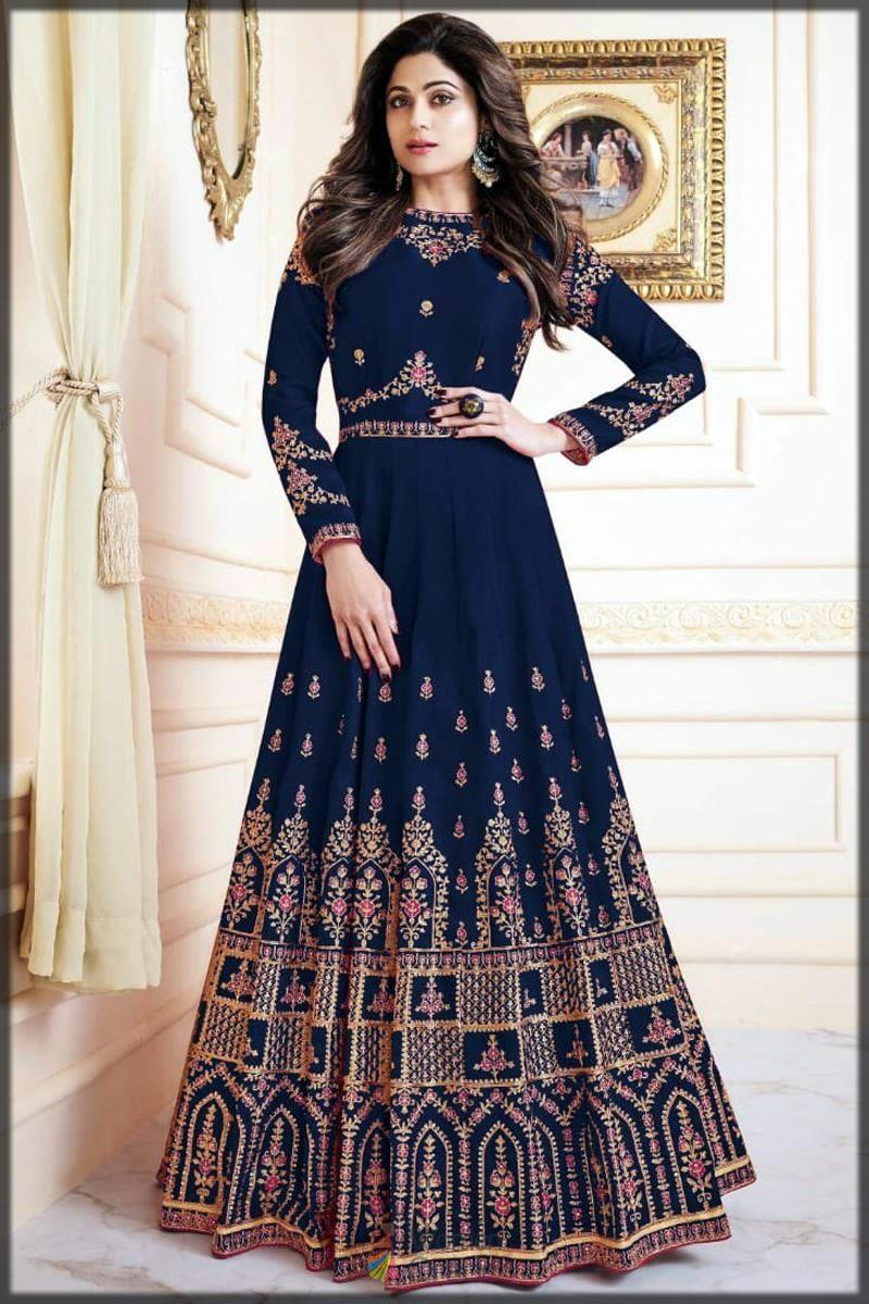 Pakistani silk dress in blue