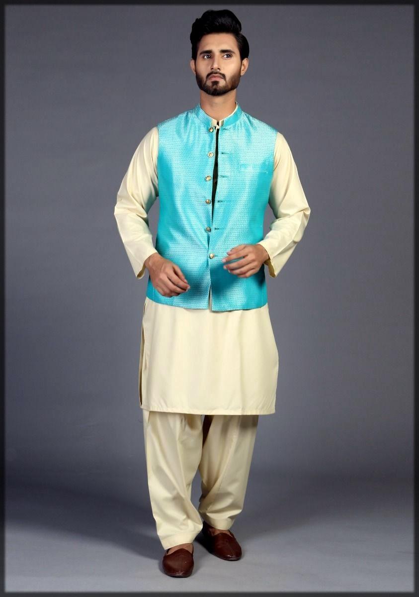 Blue waistcoat for men