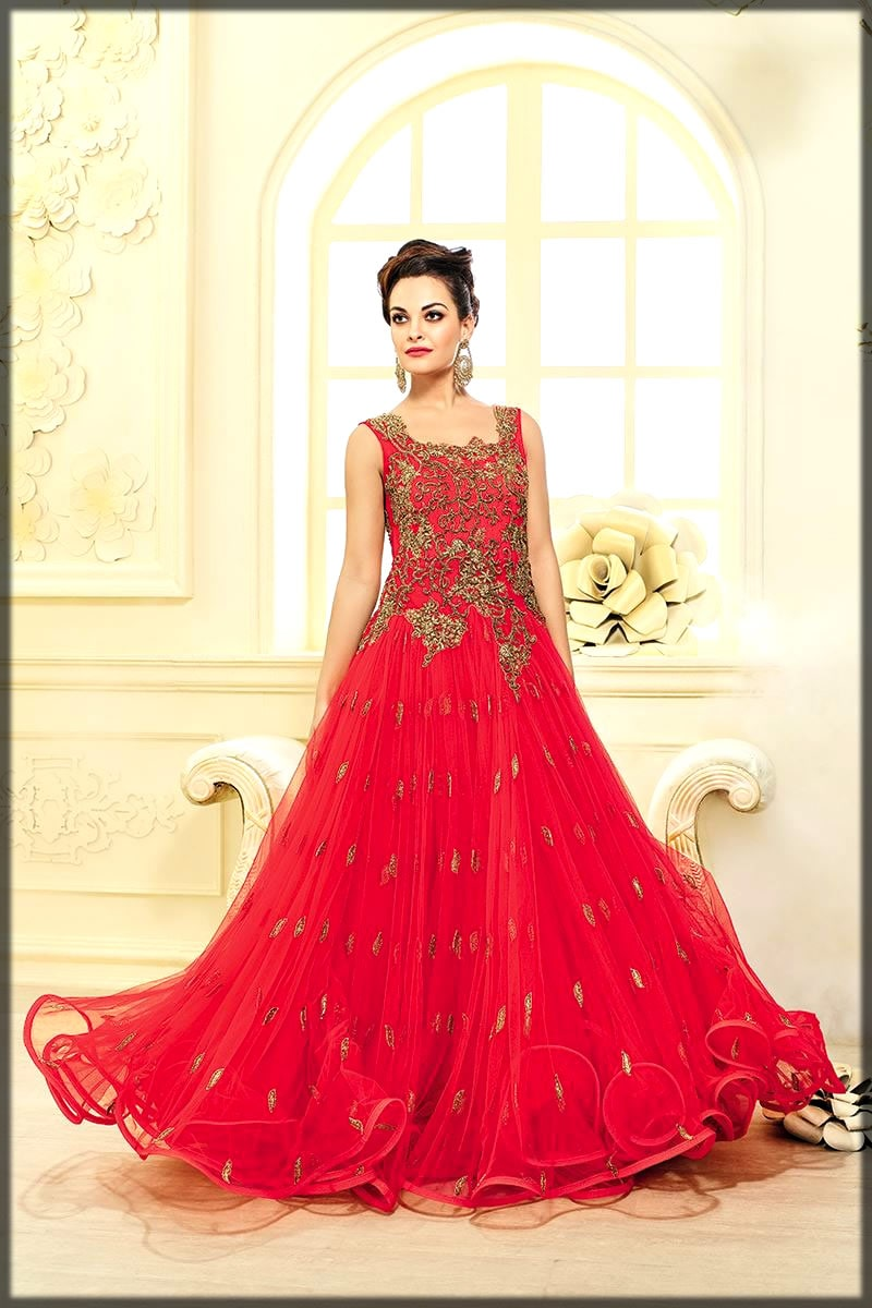 Pakistani red wedding frock collection