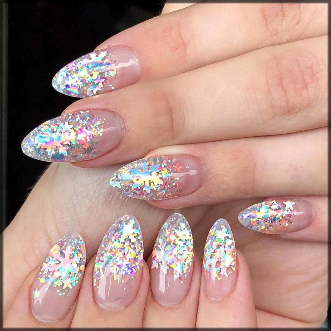 Colorful glitter festive nail art
