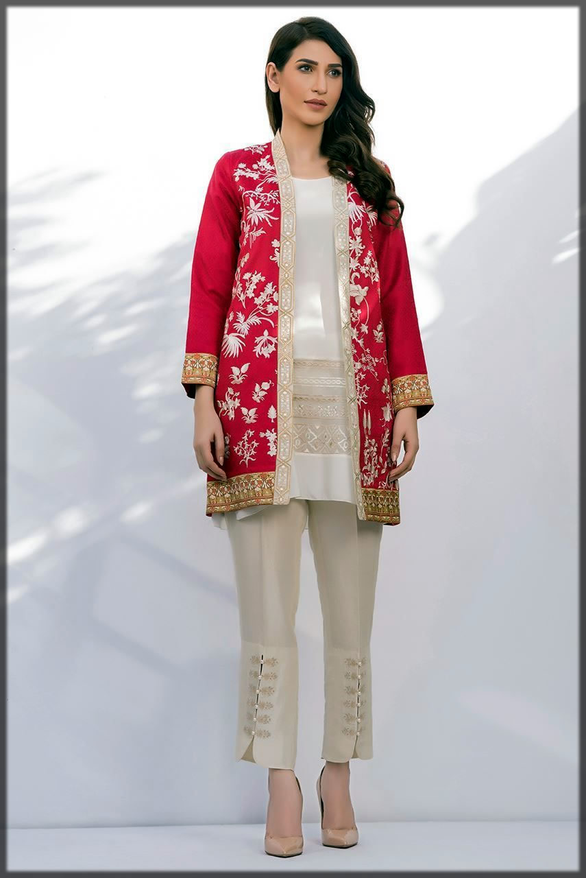 Fancy red front open double shirt