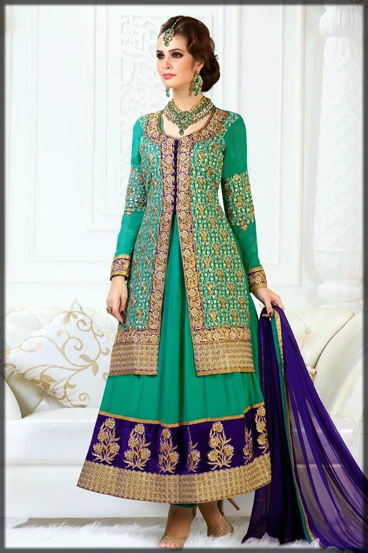 Front open double shirt frock in green