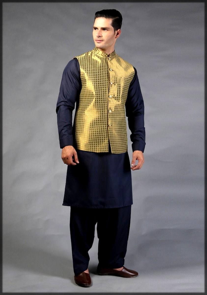 Golden jamawar waistcoat by amir adnan