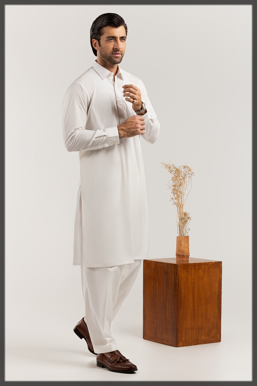 Graceful Shalwar Kameez in White for men