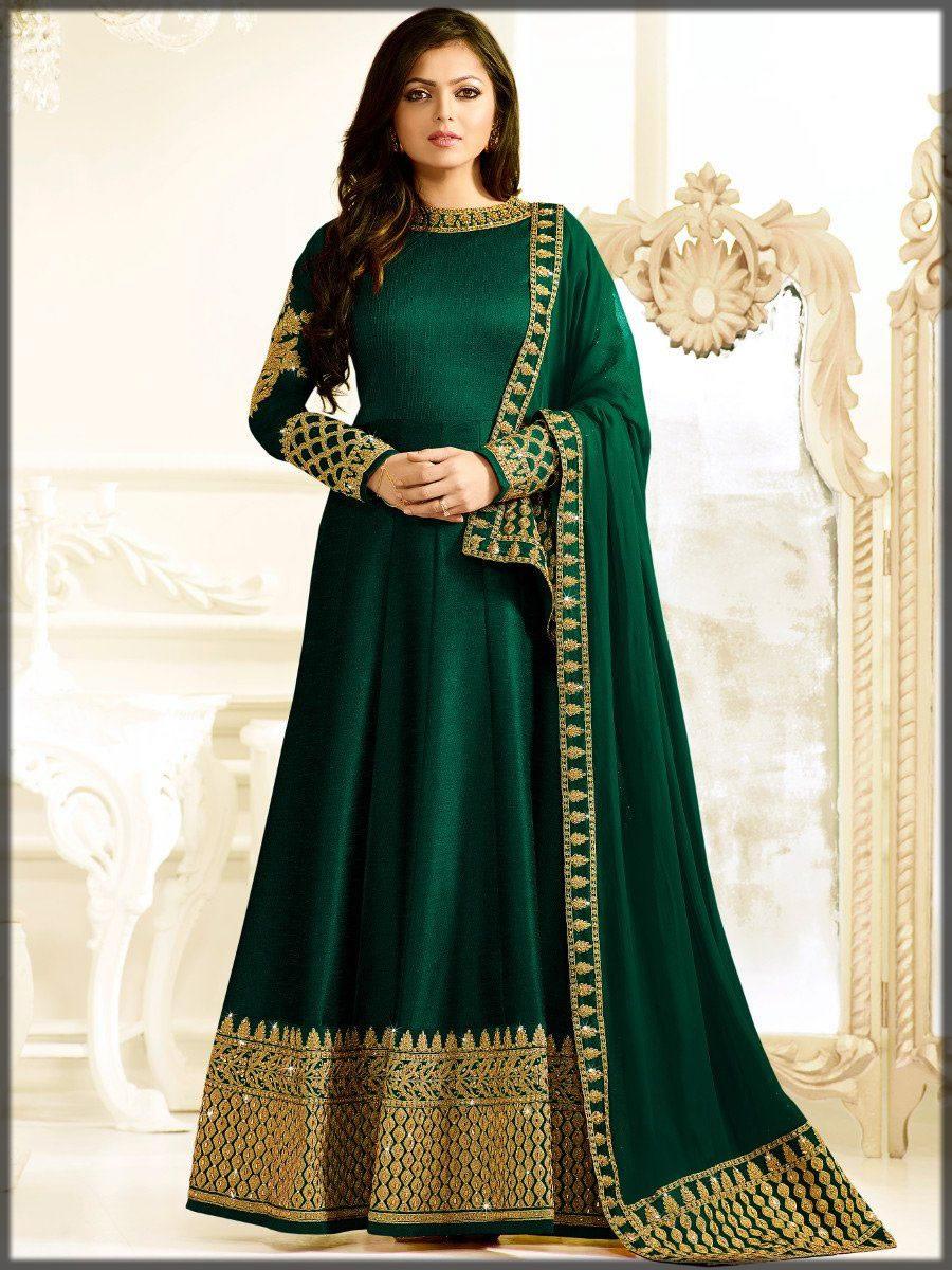 Green anarkali silk dress