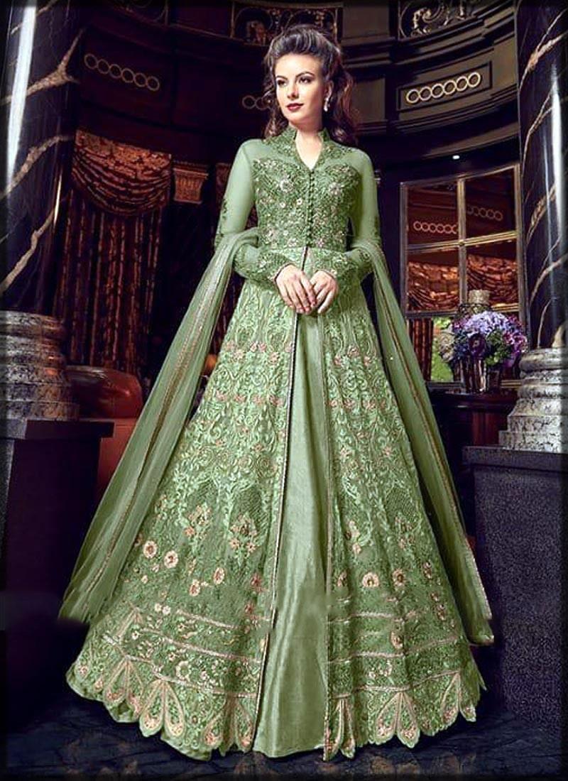 Green front open bridal dress