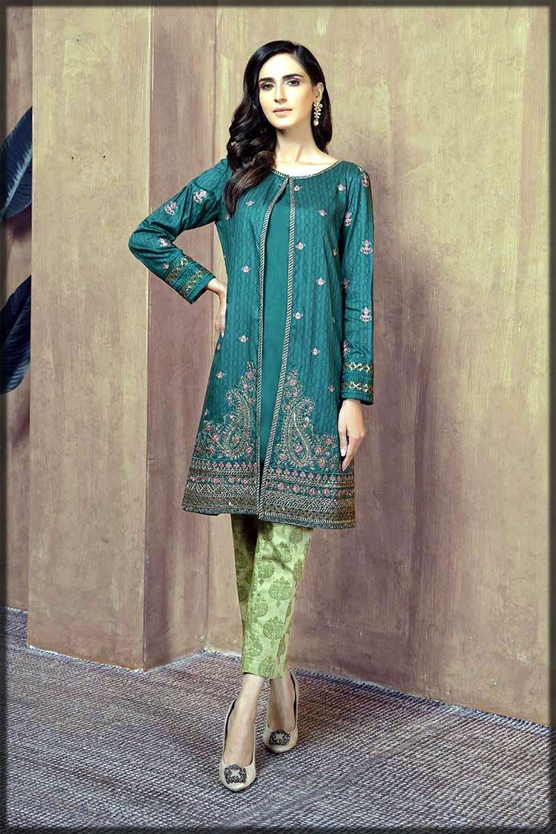 Green stylish front open double shirt