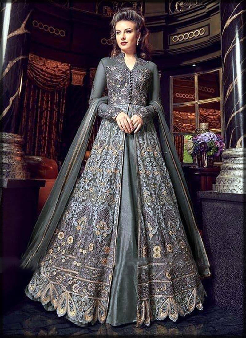 Grey front open bridal wear