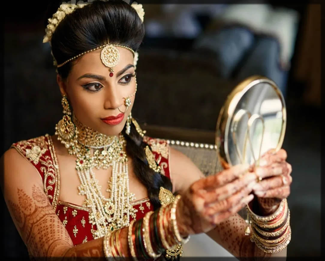 Indian Bridal Jewelry with tiered earrings