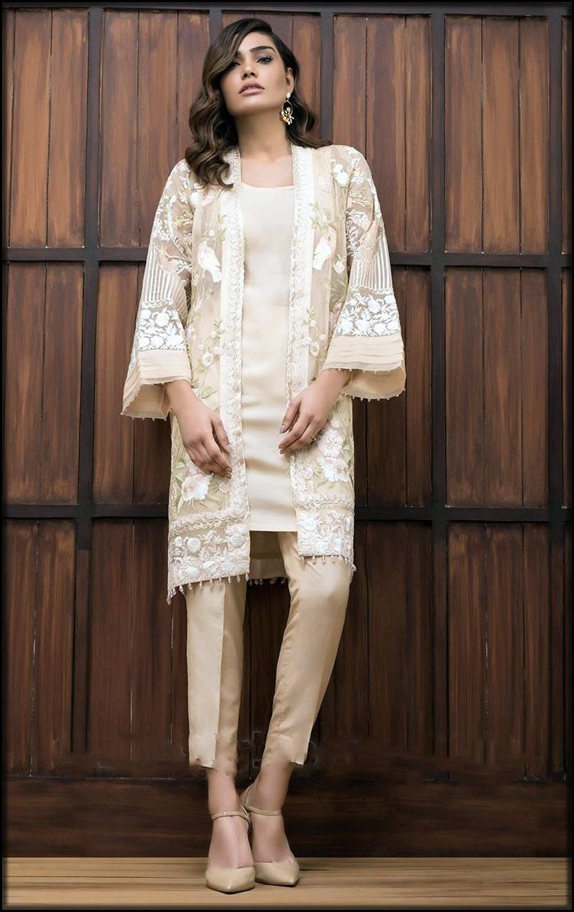 Light cream dress with open front shirt
