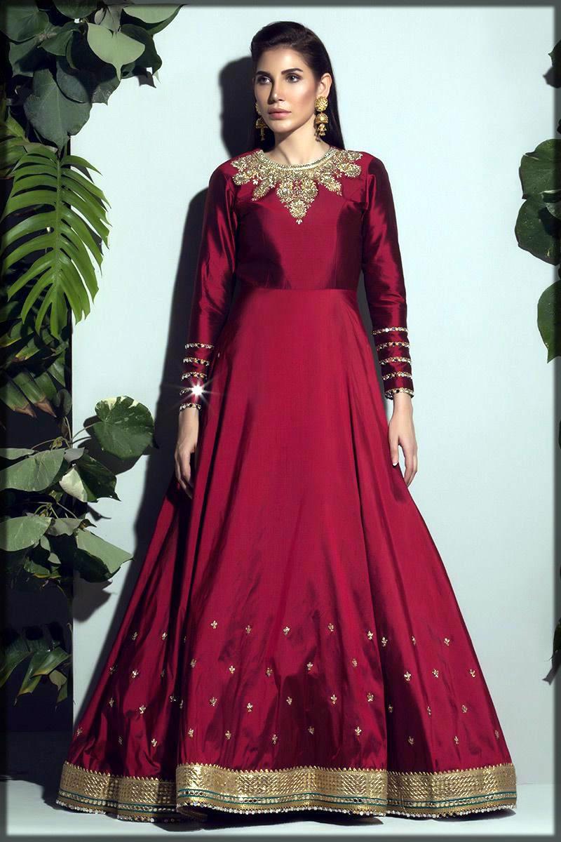 Maroon pakistani silk dress