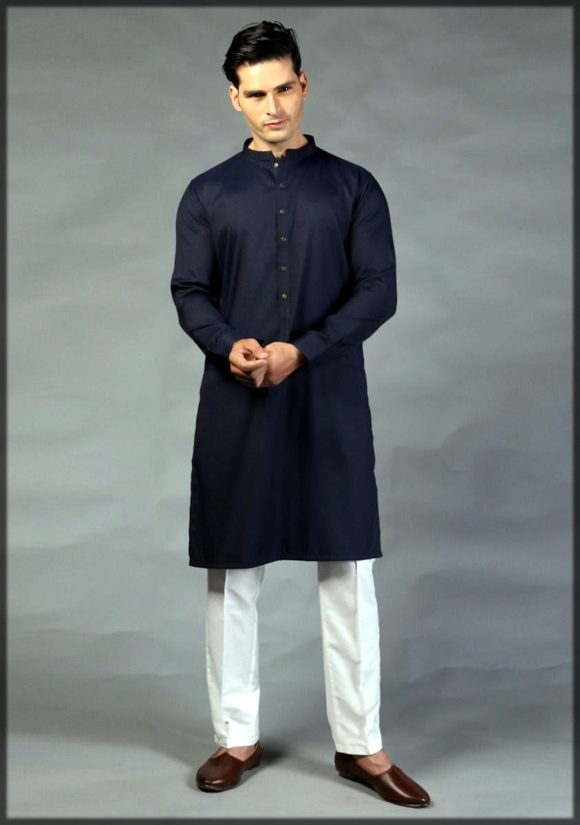 Navy blue kurta for men