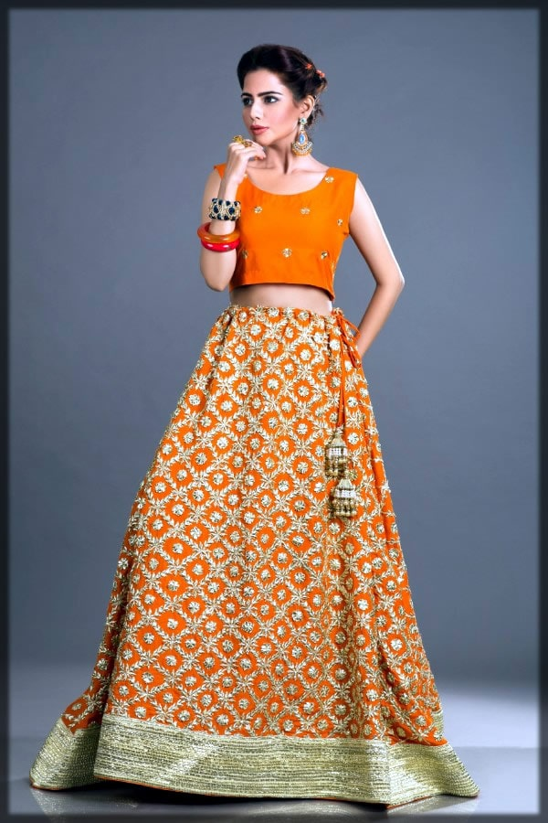 Orange bridal dress