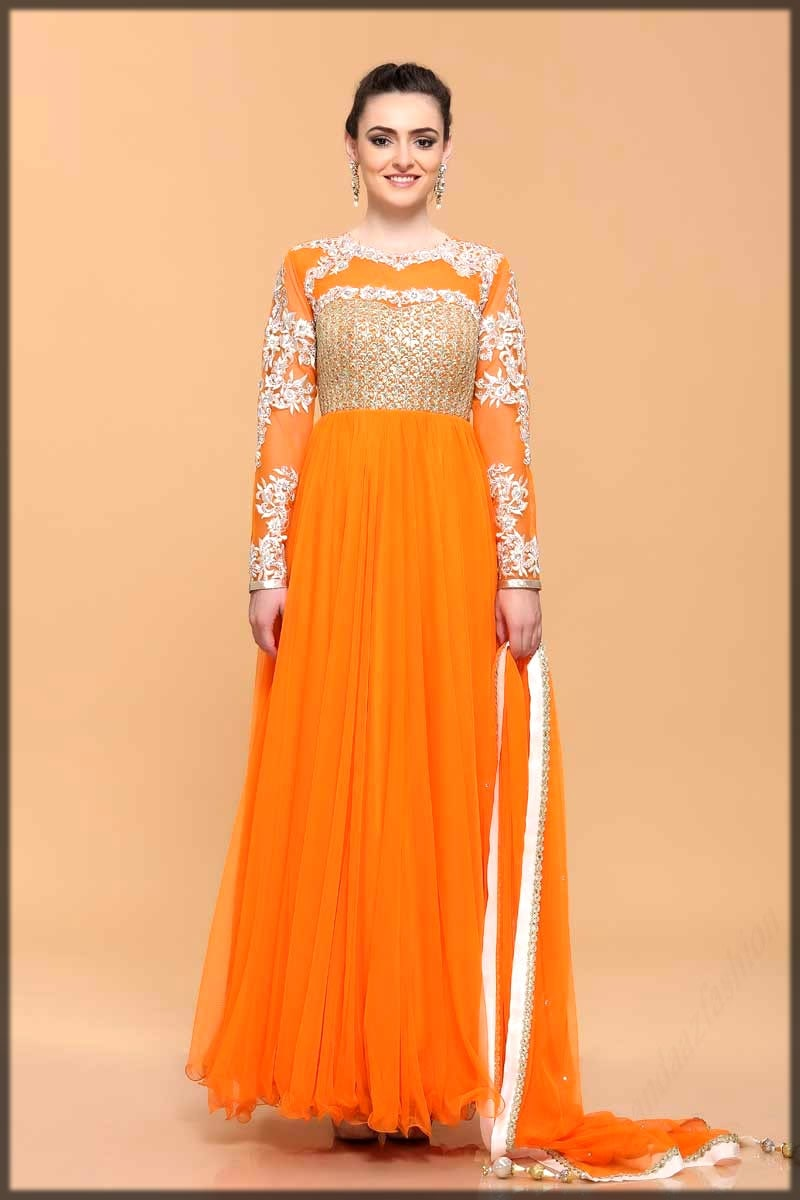 Orange bridal frock dress