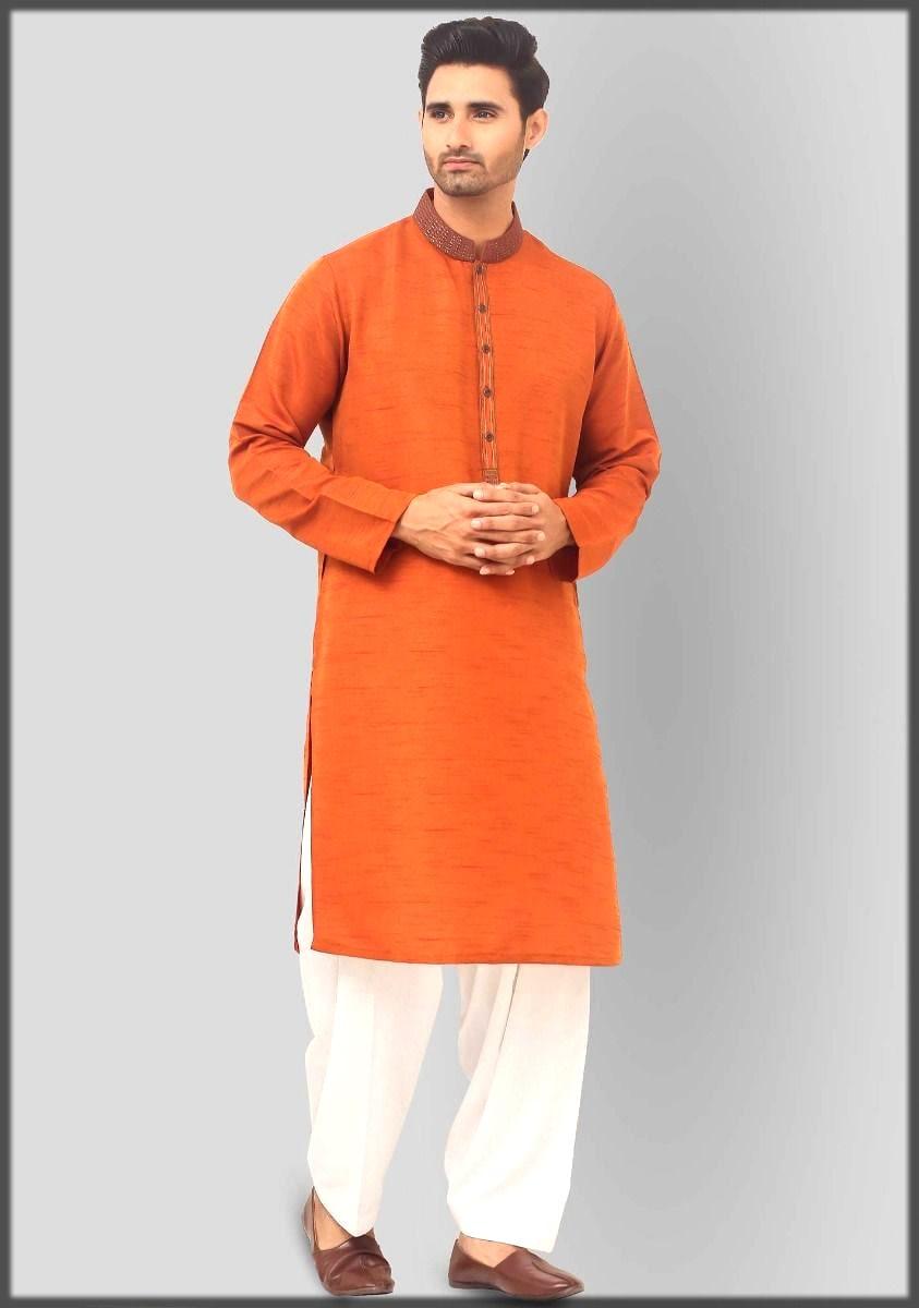 Amir adnan kurta collection in orange