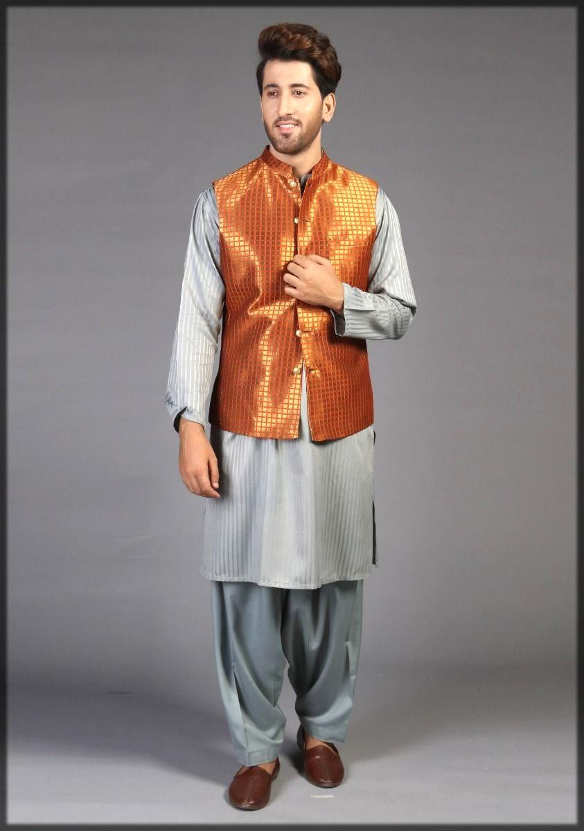 Orange jamawar waistcoat for men