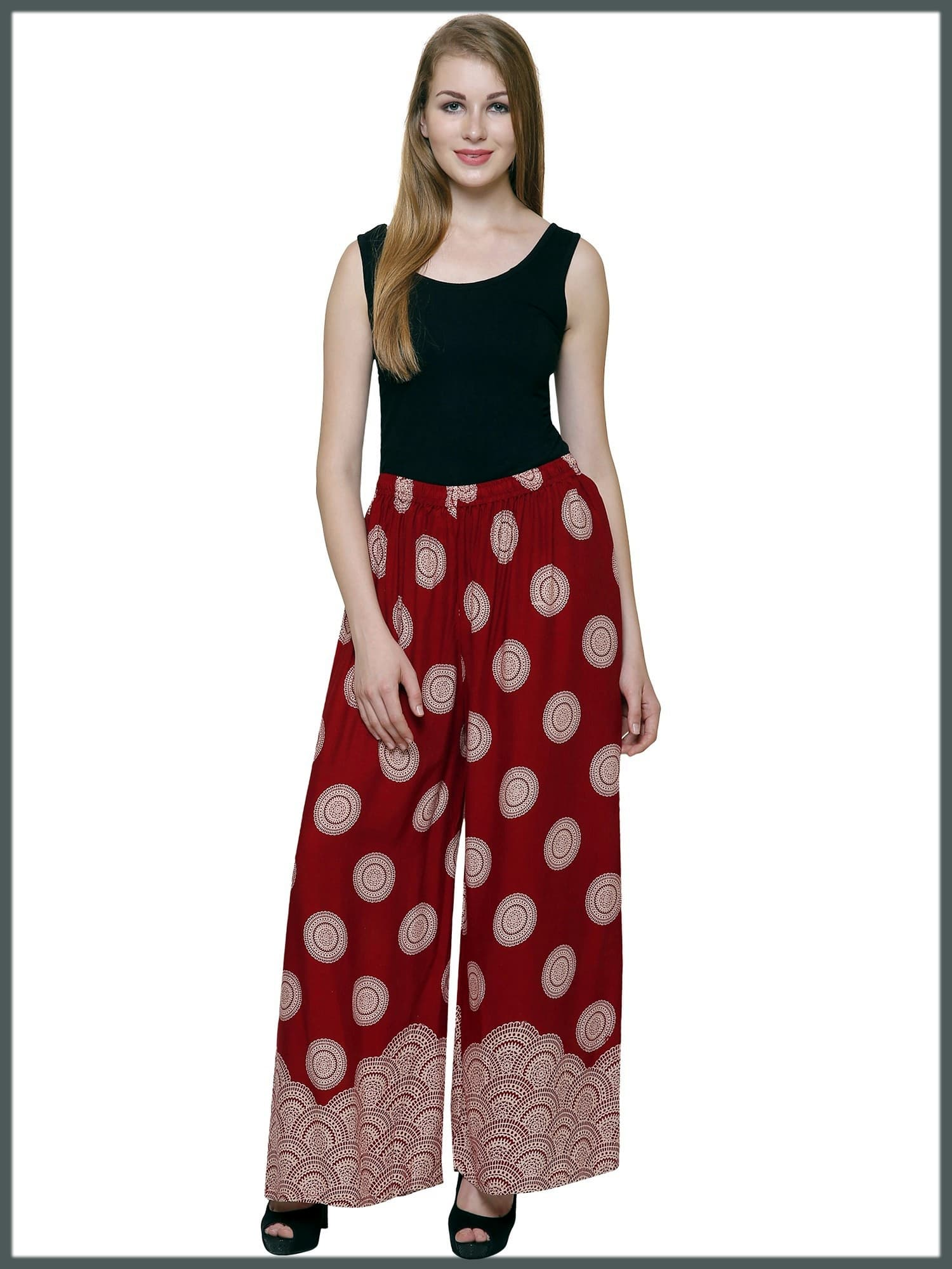 Palazzo Pants With Sleeveless Printed Shirt for School