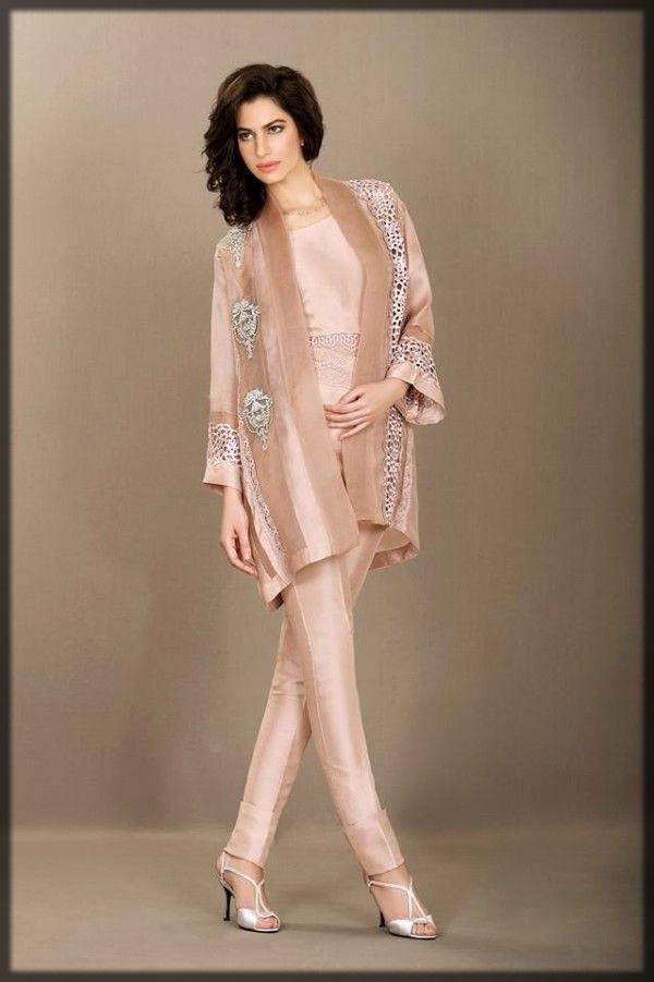 Pakistani silk dress in peach