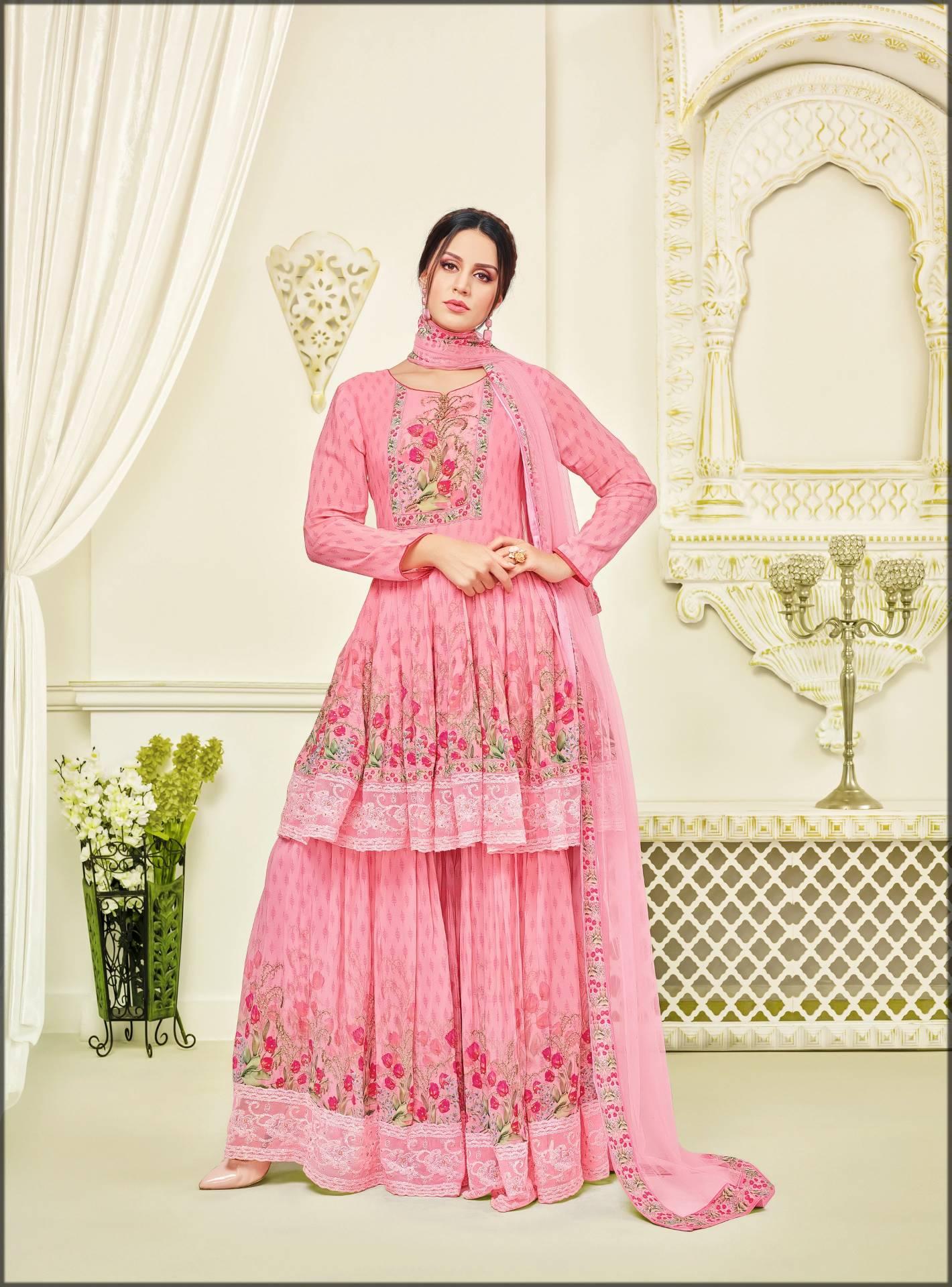 Pink sharara dress with peplum