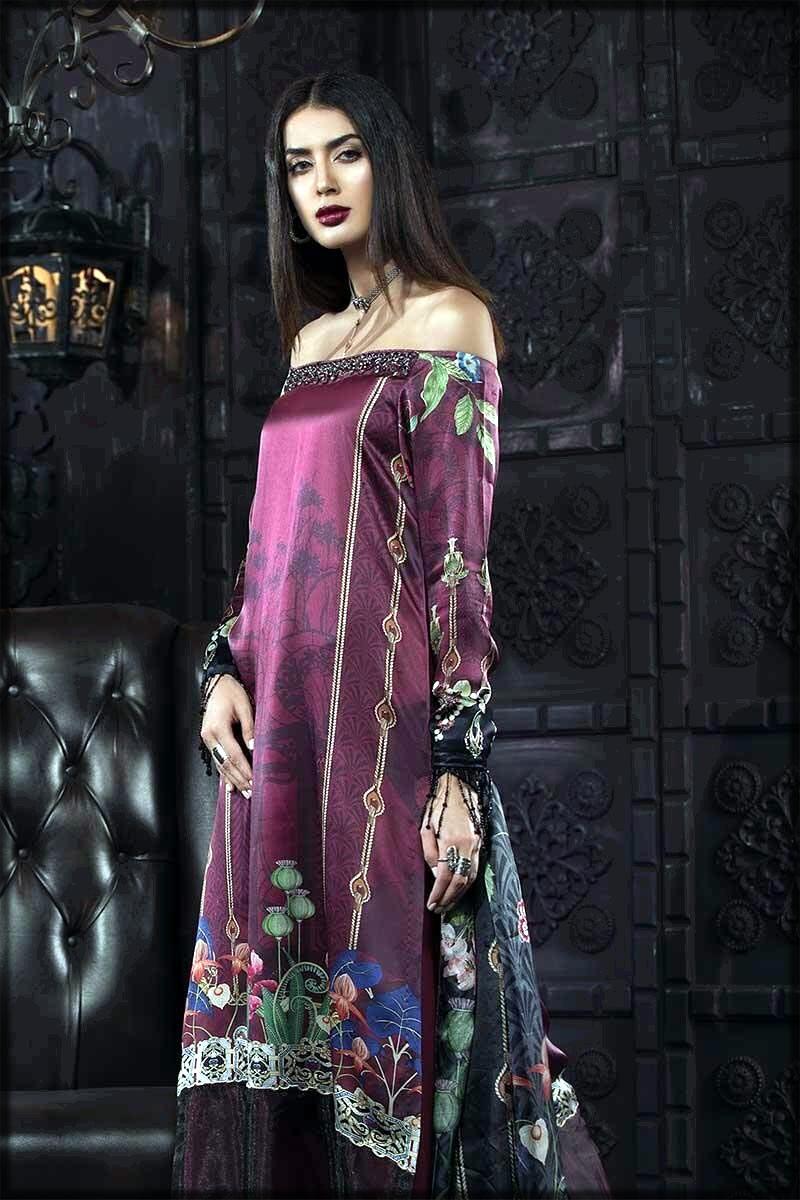 Purple silk dress by Maria B