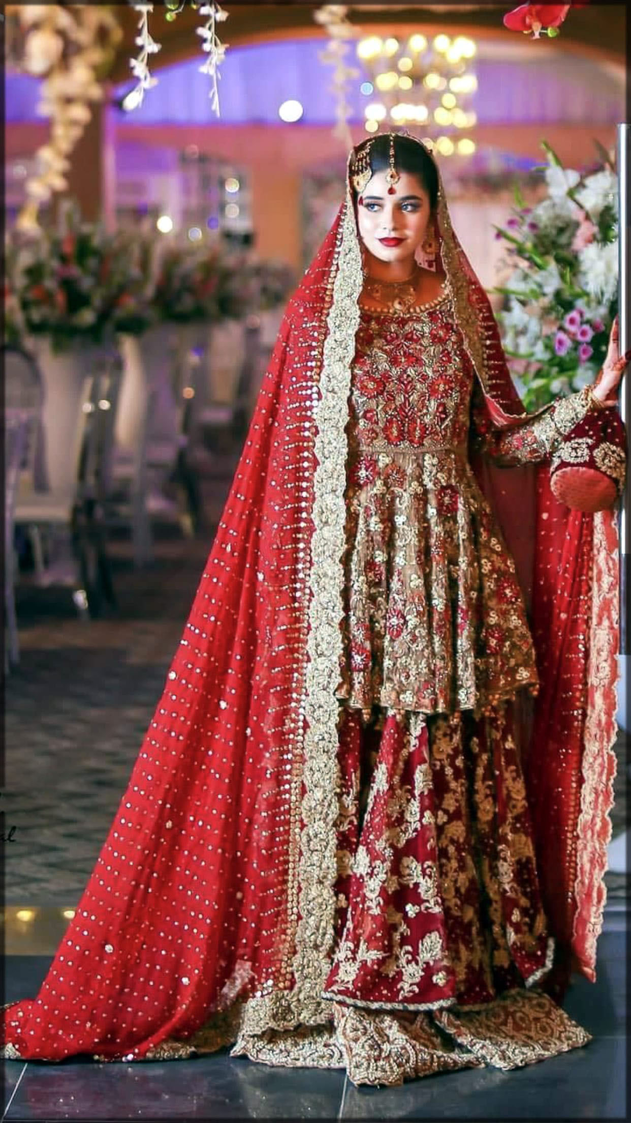 Red embroidered frock