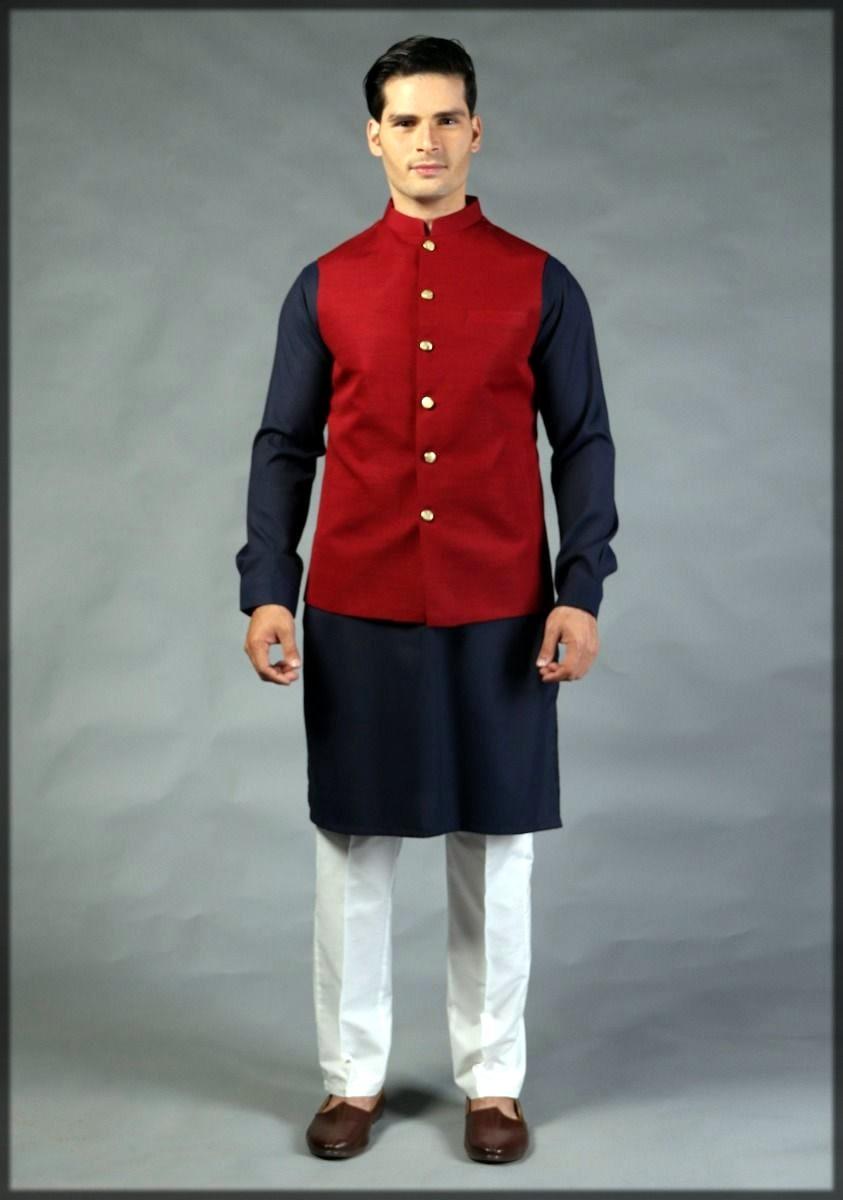 Red waistcoat by amir adnan
