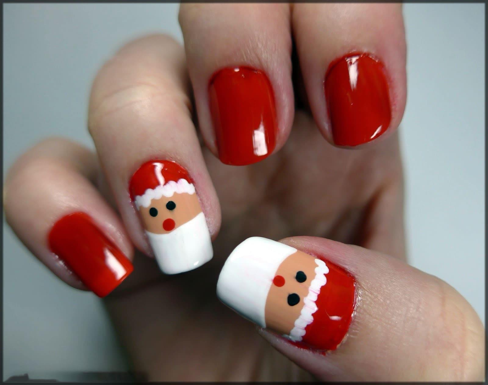 Santa claus nail art design