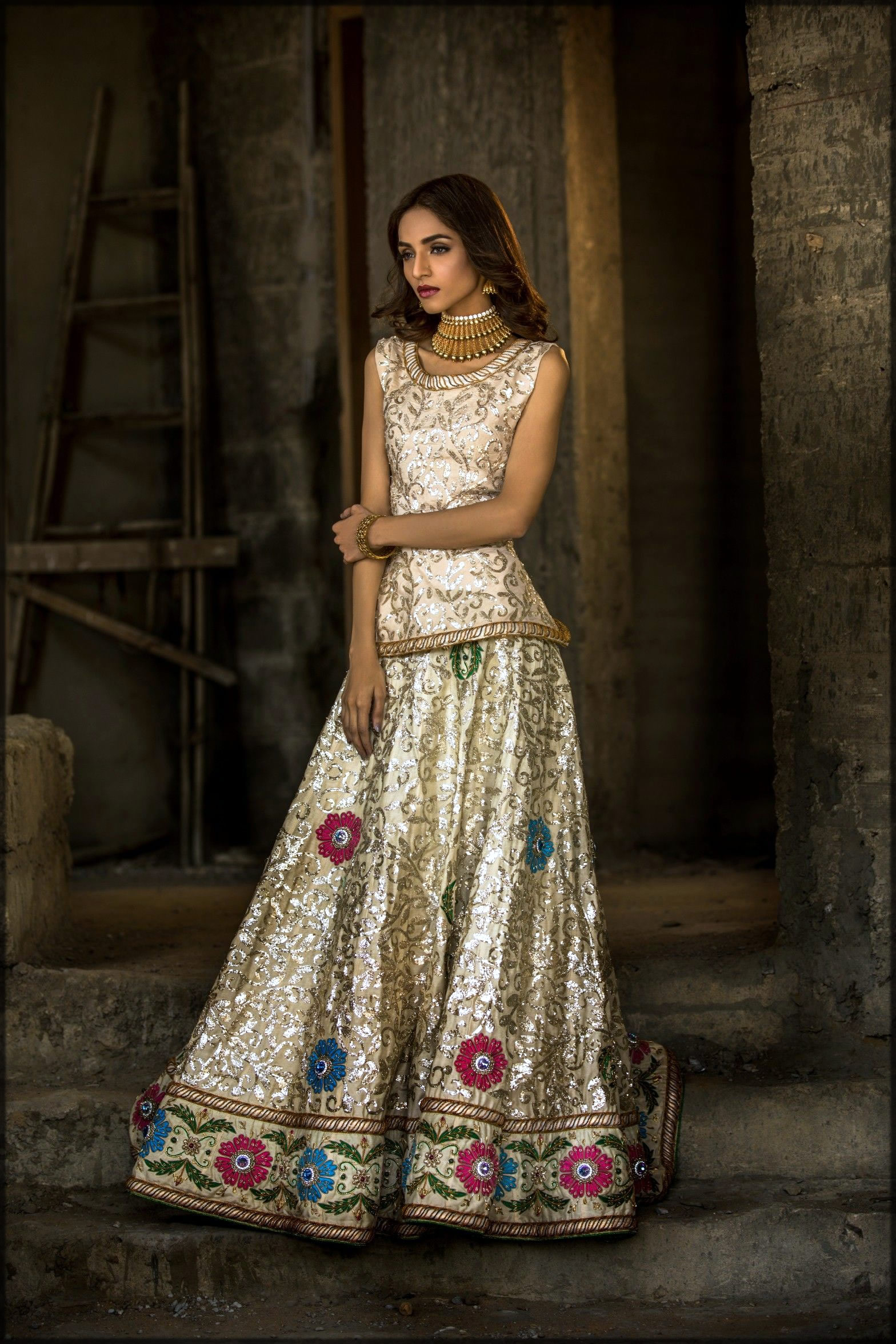 silk bridal dress in white