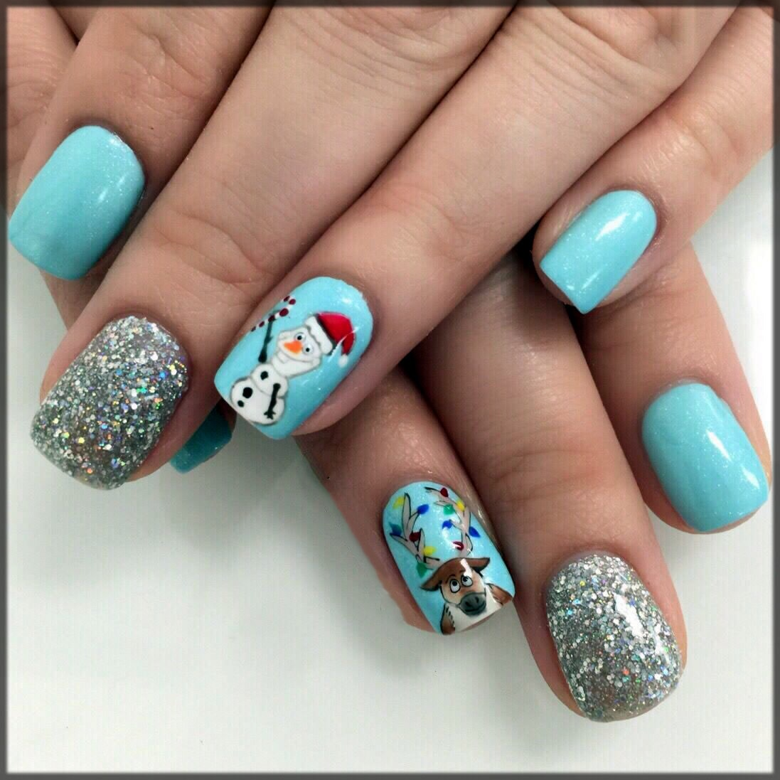 tylish Frozen nail art for christmas