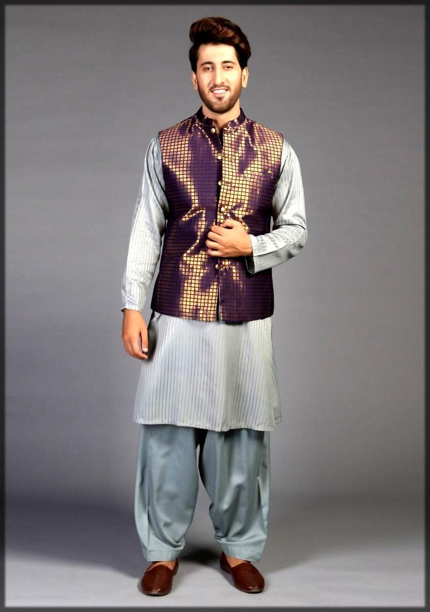 Traditional jamawar waistcoat by amir adnan