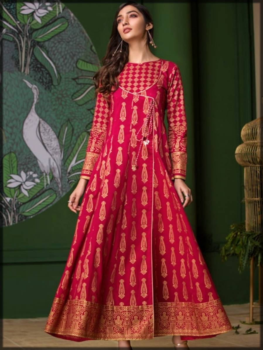 angrakha style long frock in red