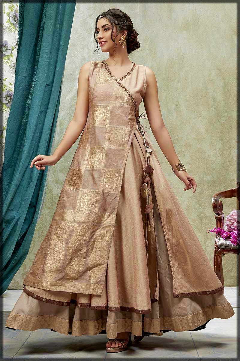 appealing double layer angrakha frock in golden