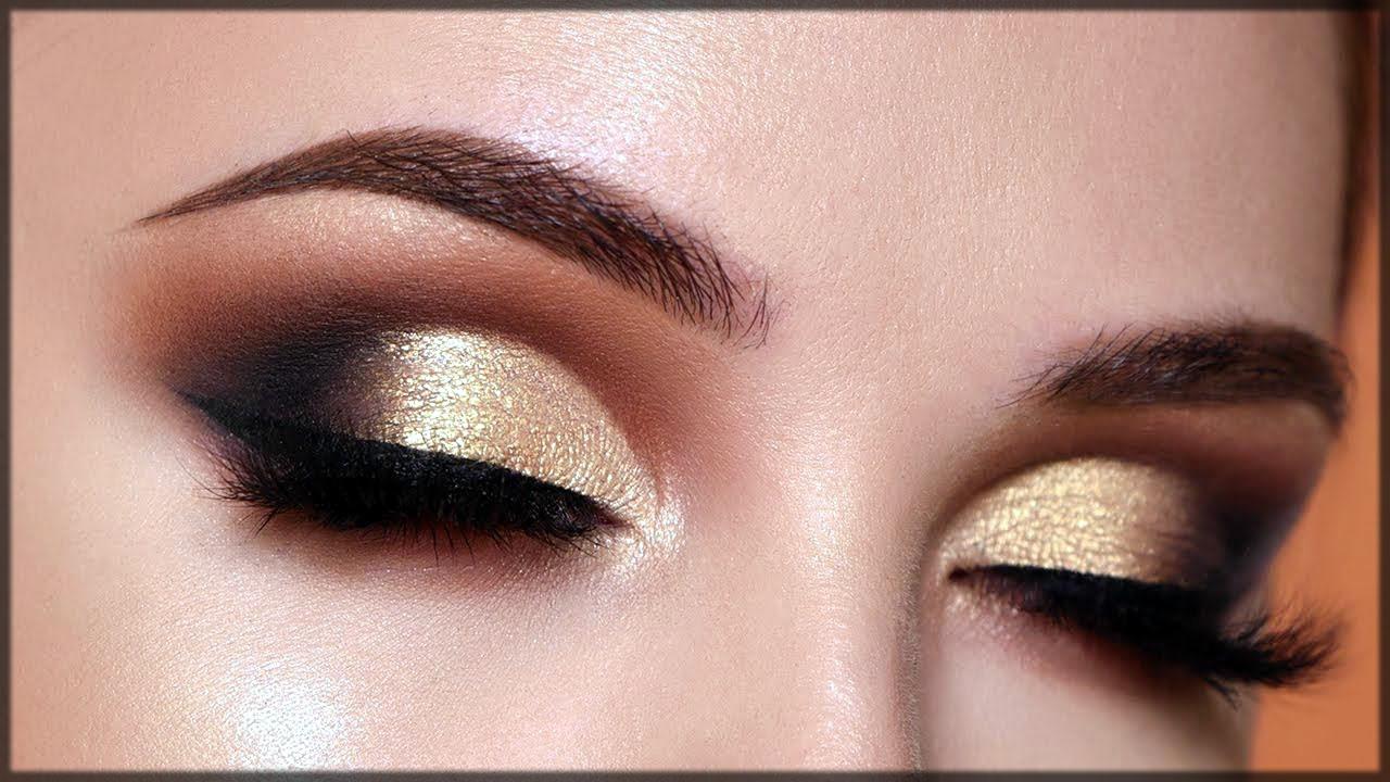 beautiful golden smokey make up