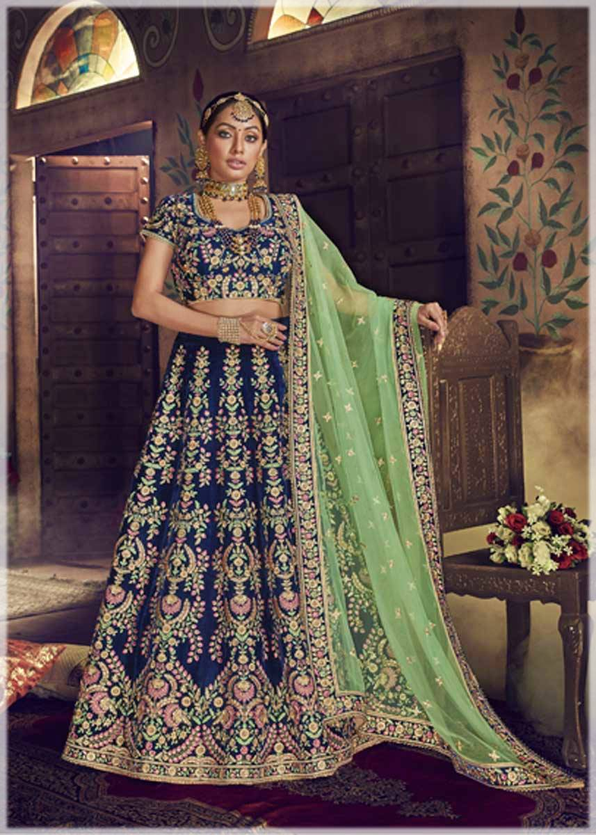 blue velvet Indian lehenga for brides