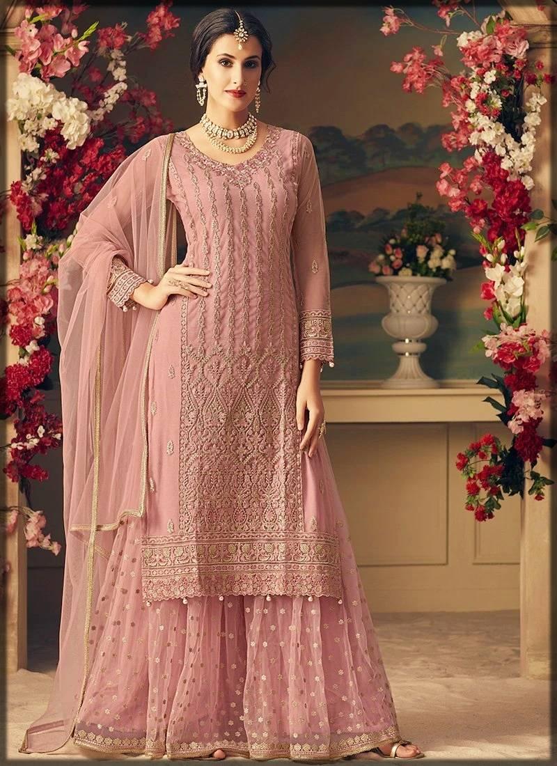 blush pink sharara dress for nikkah bride