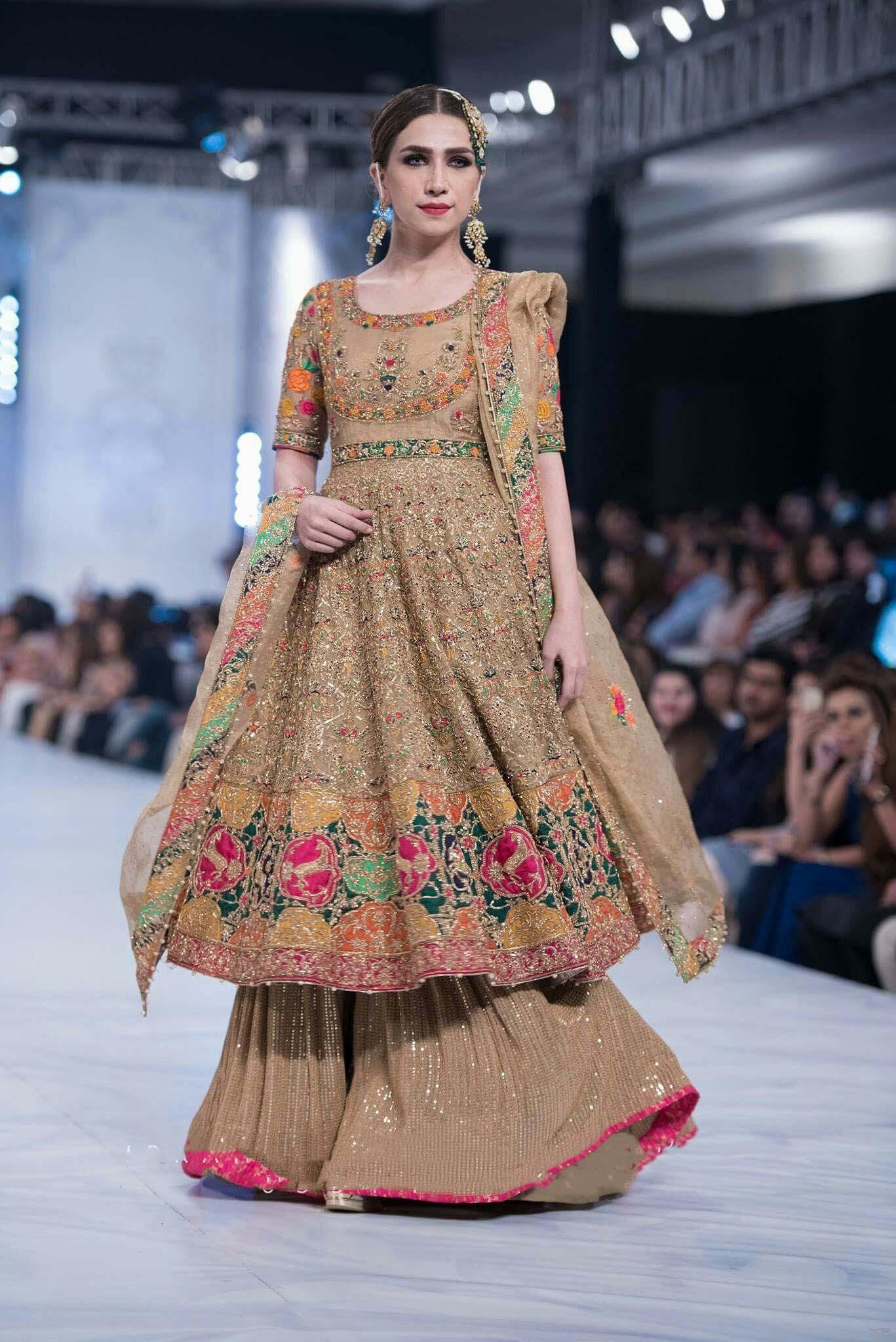 bridal sharara dress with long frock