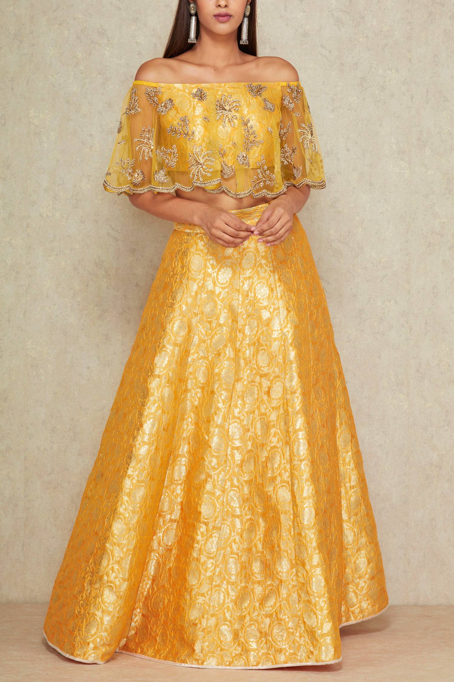 cape style blouse with lehenga for mayun