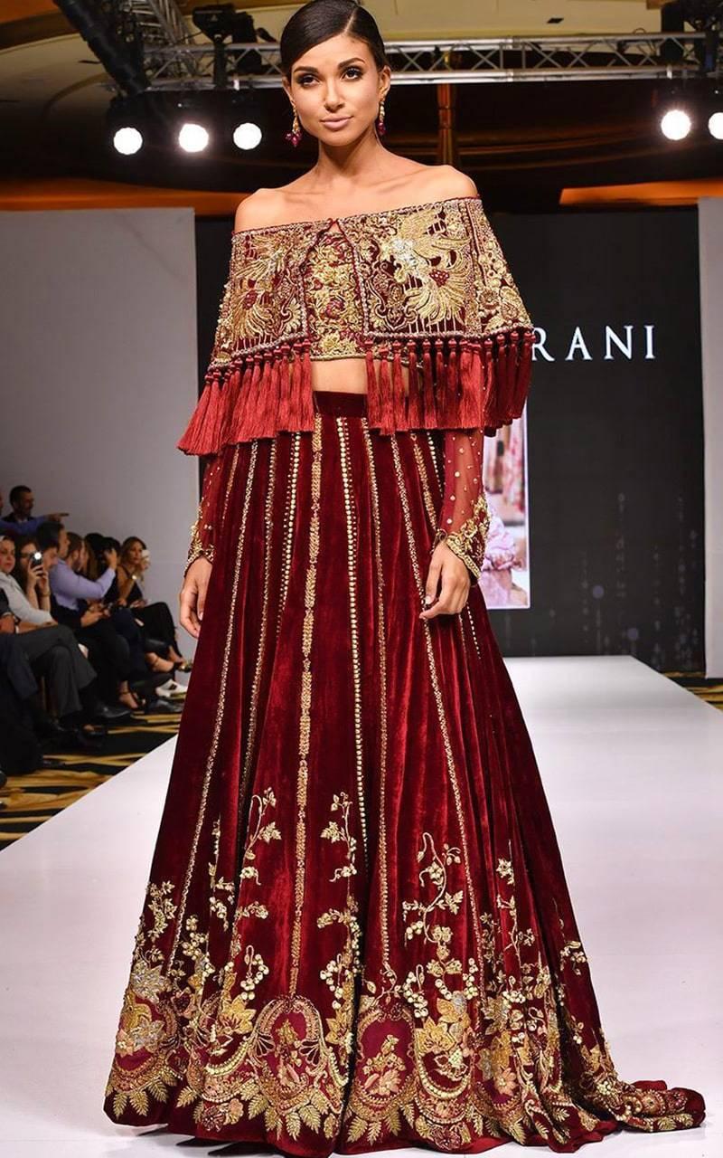 cape style blouse with lehenga
