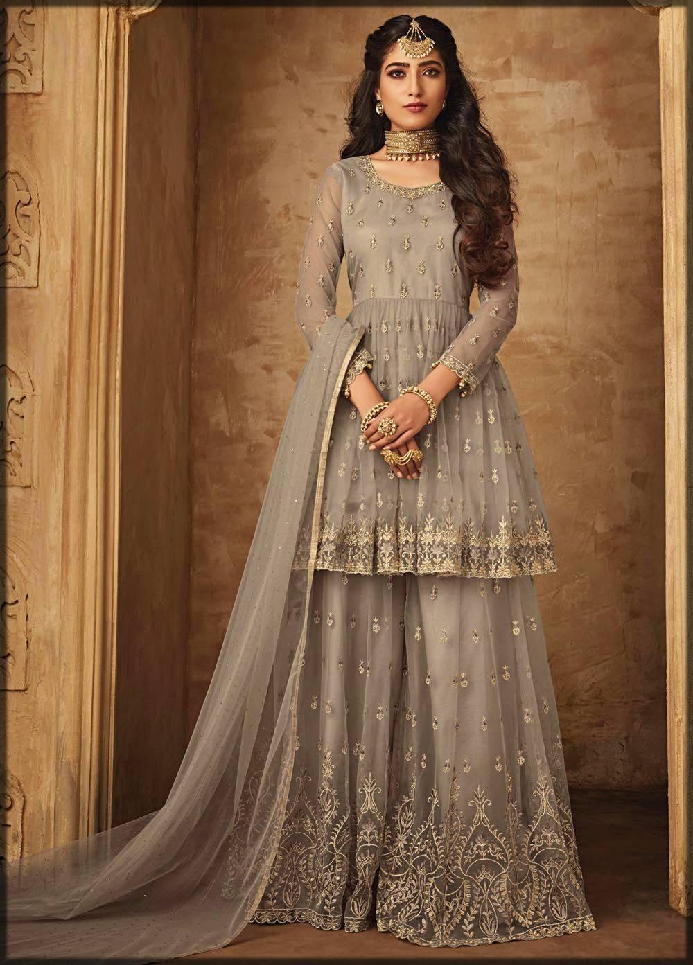 bridal net sharara dress with peplum