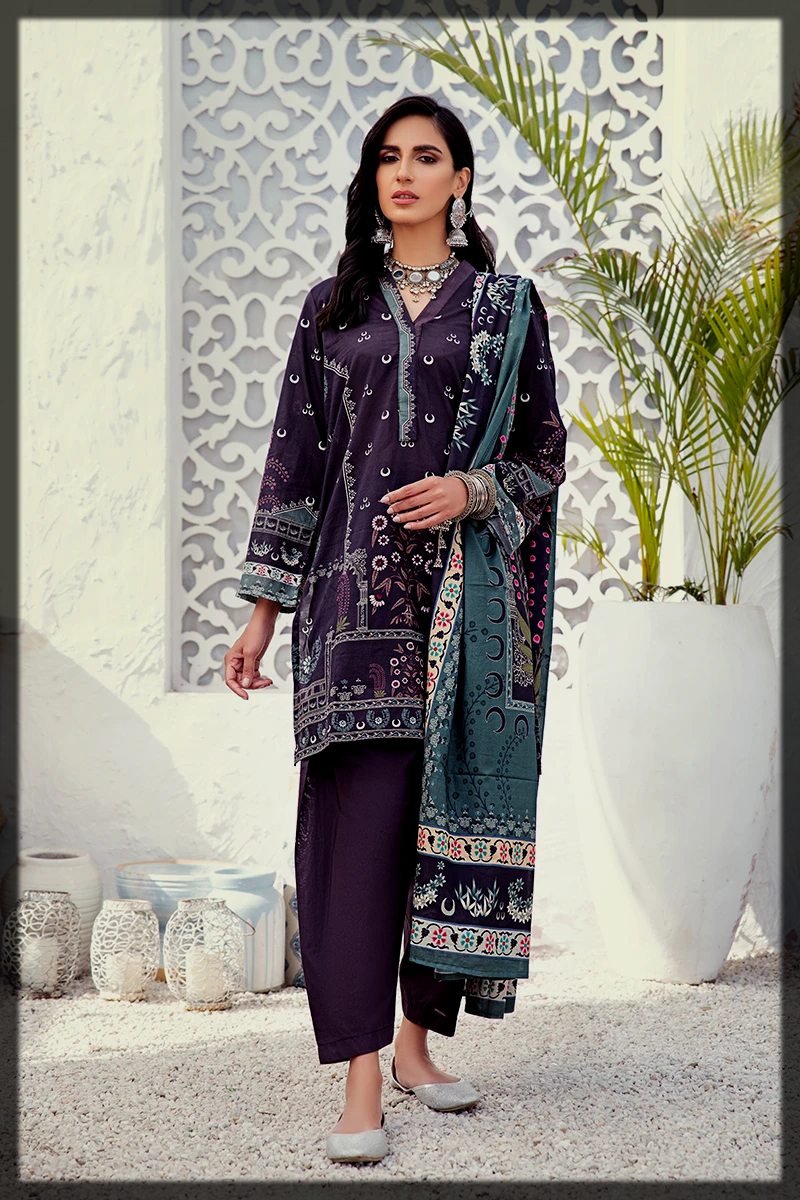 classy 3pc summer lawn dress for women