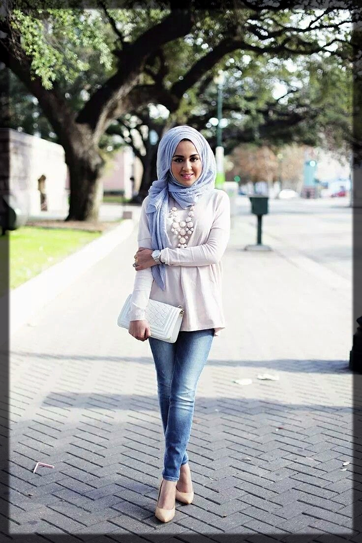 classy hijjab style with jeans