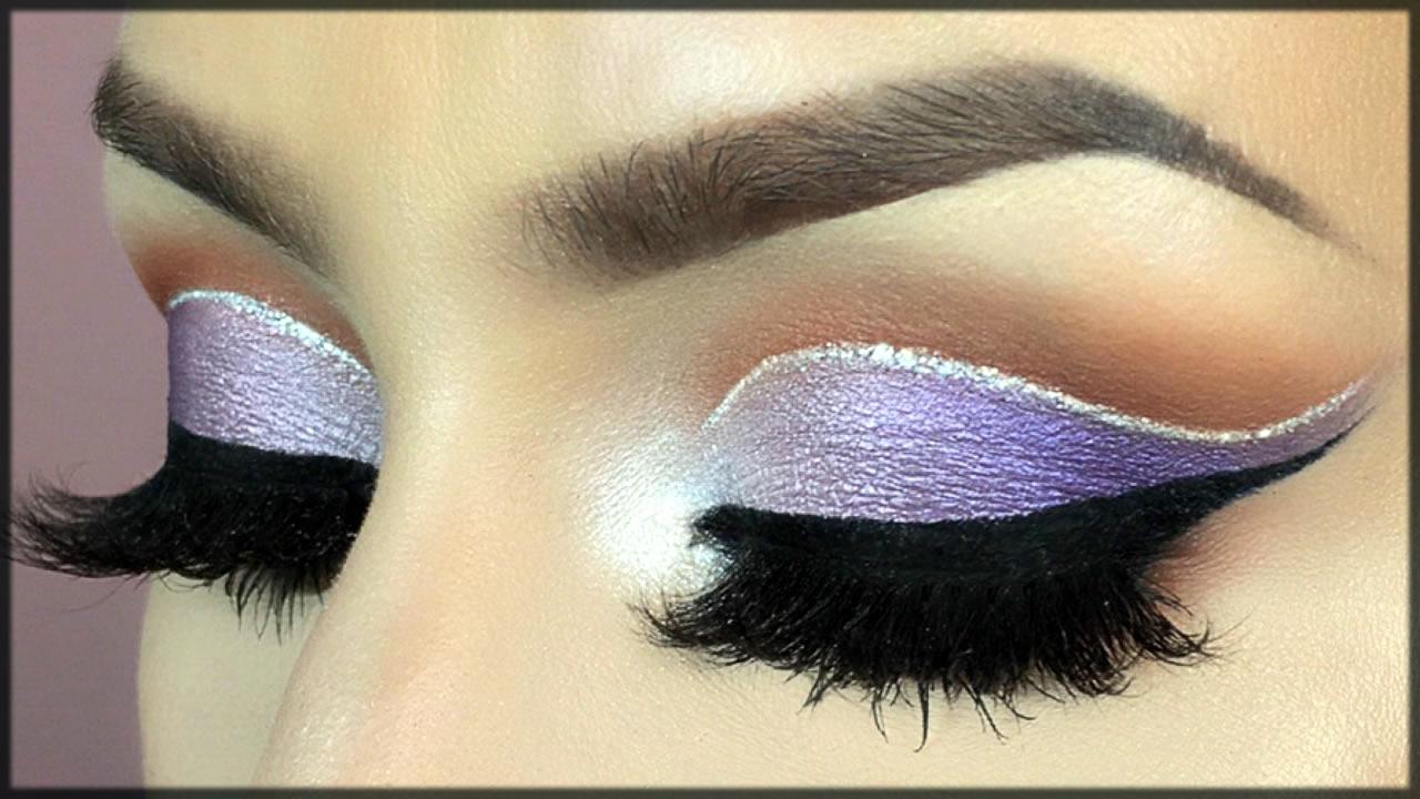 classy purple cut crease eye makeup