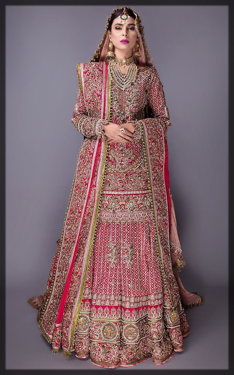 classy red Fahad Hussyan Bridal Collection