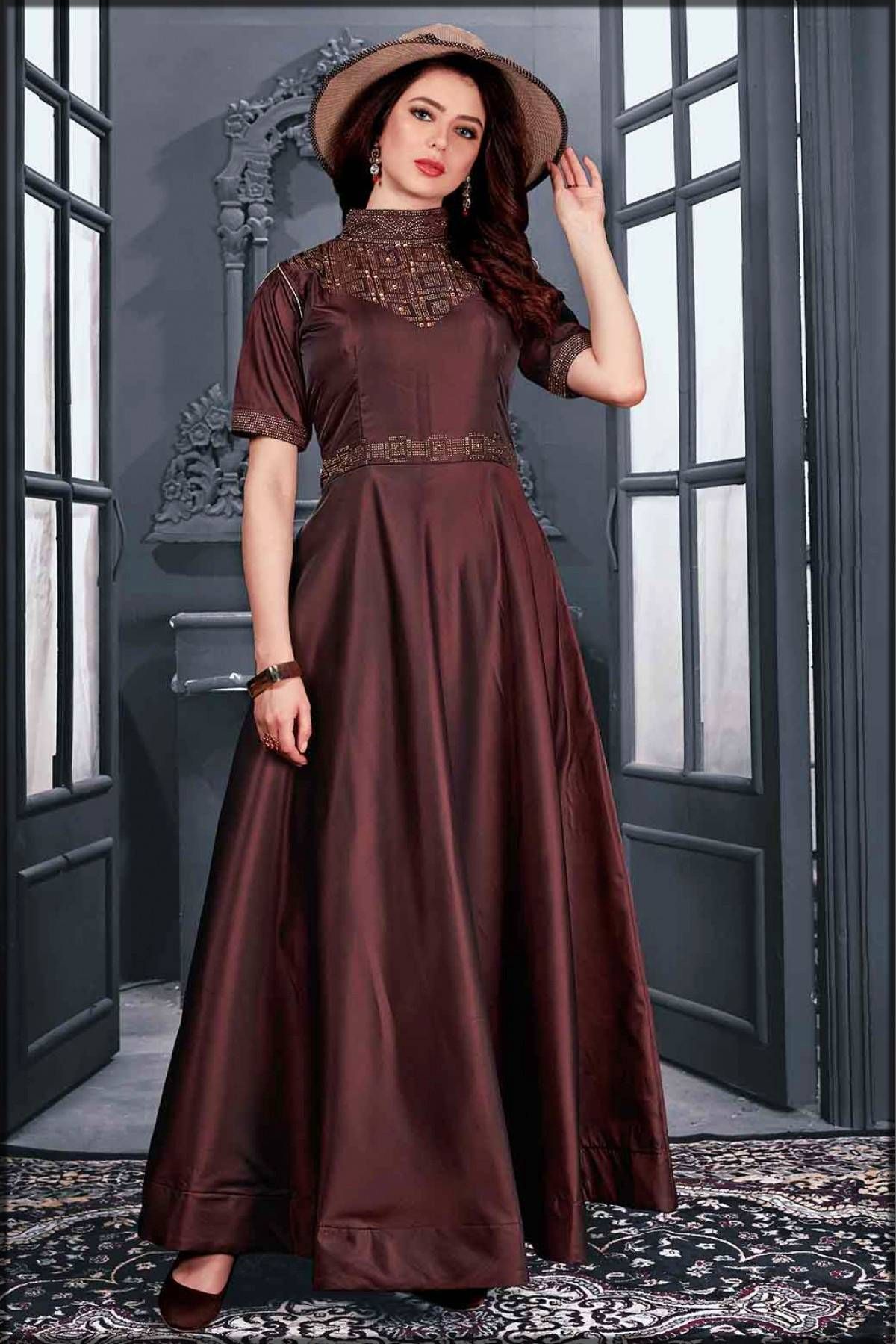 stylish long frock for ladies - brown