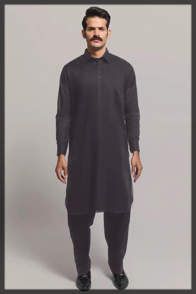 dark grey summer lawn dress for men